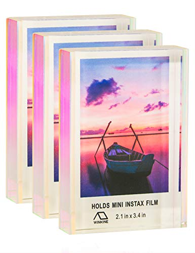 WINKINE Office Small Picture Display 2x3, 3 Pack Rainbow Self Standing Floating Instax Multi Picture Frame for Home & Office Decor, Table Desktop Sliding Photo Frame for Fujifilm & Polaroid -