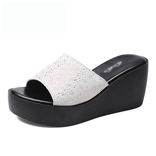 Zapatillas color 40 Use Suela Bottom Alto Muffin Gruesa 5cm La White 7 Size Summer Tacón Sra De Pendiente Con Imitación Sandalias Diamantes twq6SPa41x
