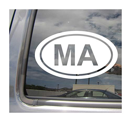 - - MA The Commonwealth of Massachusetts State Code Oval Euro Style - Abbreviation Boston Bay Pilgrim Puritan State Cars Trucks Auto Automotive Craft Laptop Vinyl Decal Store Window Wall Sticker 16023