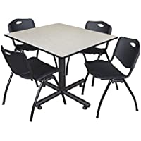 Regency Kobe 48-Inch Square Breakroom Table, Maple, and 4 M Stack Chairs, Black