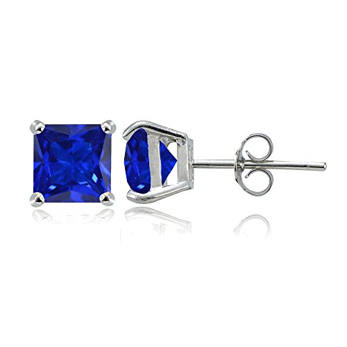 Sterling Silver Simulated Blue Sapphire 6mm Princess-cut Stud Earrings (Amethyst Sapphire Stud)