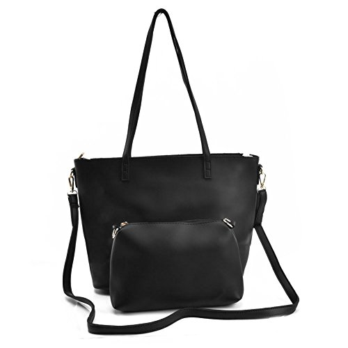 Fashion YOUNG for Handle Bags Leather Pu Black Capacity 2 Large vk5408 Satchel women Pieces Ladies Top SALLY wgWPdBxq5w