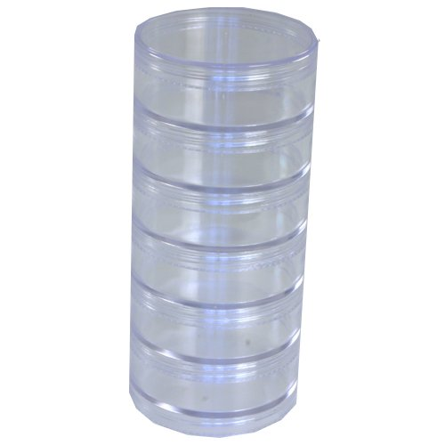 Paylak CTNB110 Storage Box with 6 Stackable Clear Round Containers for Crafts and Small Items