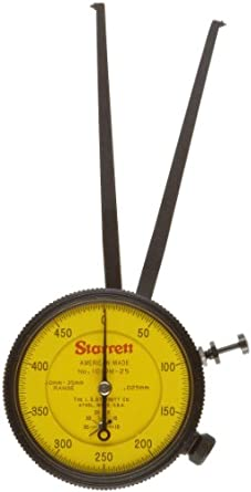 Starrett 1019M-25 Caliper Gauge, Pointed Jaw, Yellow Face, 10-35mm Range, +/-2mm Accuracy, 0.025mm Resolution