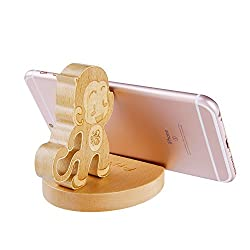 Natural Wooden Creative Cute cell Phone Stand/ Holder For Iphone Ipad Samsung Phone Tablet Plate PC (monkey)