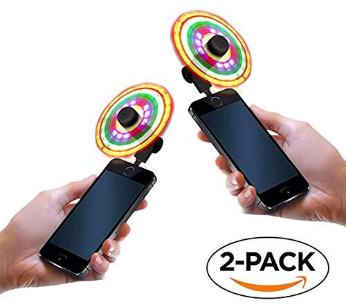 Set of 2 Light up Fans Cellphone by Lori Greiner - FlashFan Phone Fan Multicolored Flashing Smartphone Fan, Burning Man, EDC, Mardi Gras, Festival, or Halloween (iPhone) -