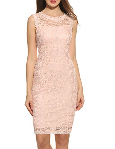 Party Cocktail Sleeveless Dress Evening Lace Elegant Acevog Women Pink Floral s wYnZAF