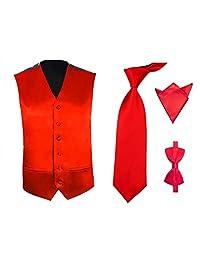 TopTie Men's 4 Pcs Formal Vest, Bowtie, Neck tie, Pocket Square Set