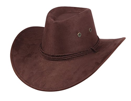UwantC Mens Faux Felt Western Cowboy Hat Fedora Outdoor Wide Brim Hat with Strap Coffee -
