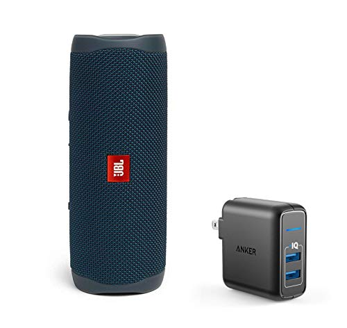 JBL Flip 5 Waterproof Portable Wireless Bluetooth Speaker Bundle with 2-Port USB Wall Charger - Blue