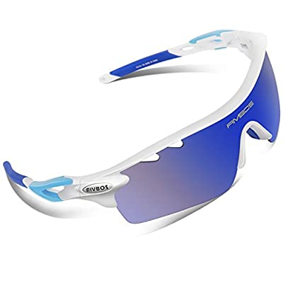 RIVBOS 801 Polarized Sports Sunglasses Sun Glasses with 5 Interchangeable Lenses for Men Women Baseball Cycling Runing