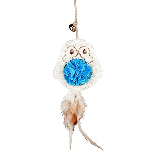 Blueberry Pet Penguin on a Stick Luffa Teaser Wand Interactive Feather Toys for Cat