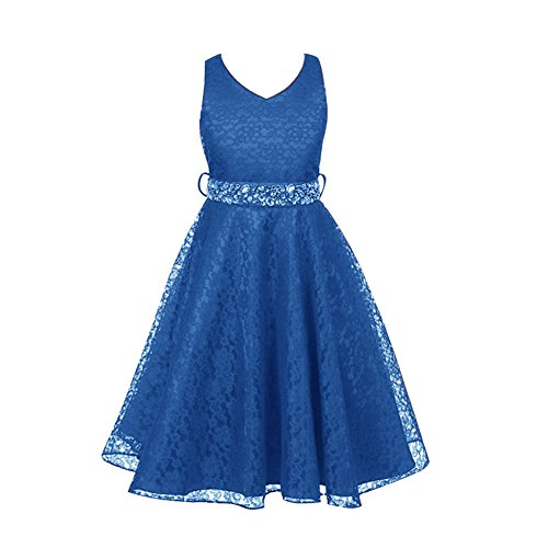 LSERVER Girls' Formal Lace Dress with Rhinestones for School Dance and Party
