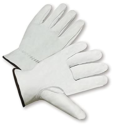 West Chester 991K White XL Grain Goatskin Leather Driver's Gloves - Keystone Thumb - 10 in Length - 991K/XL [PRICE is per DOZEN]