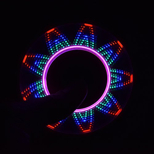 LEEHUR LED Fidget Spinner with Micro-USB Charger EDC Tri Hand Spinner Toy High Speed Stress and Anxiety Relief Toy Flag