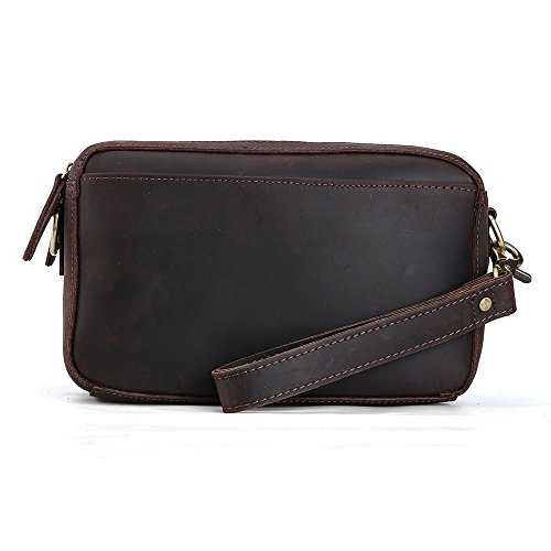 Tiding Genuine Leather Men's Clutch Bag Handbags Wallet Purse Organizer Crossbody Wrist Bag with Removable Shoulder Strap