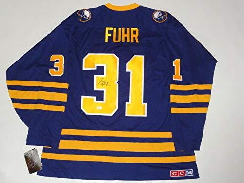 (Grant Fuhr Autographed Signed #31 Ccm Vintage Buffalo Sabres Jersey Proof Hof Memorabilia JSA COA)