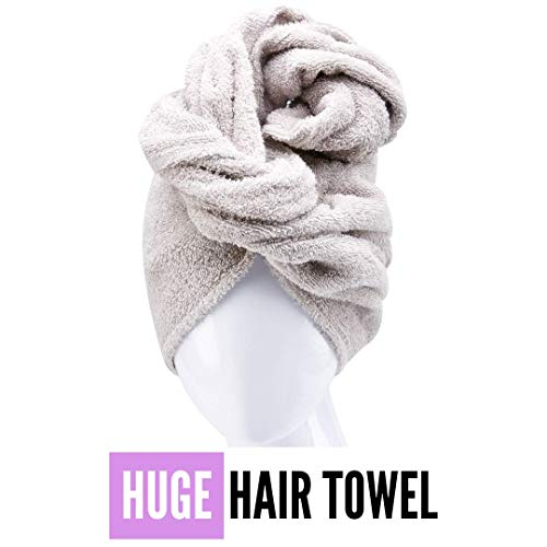 Aspen5 Huge Cotton Hair Towel Wrap for Women - Fast Drying and Super Absorbent Head Turban Ideal for Long and Curly Hair- Special for Mothers (Grey)