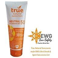 True Natural SPF 50 Sunscreen, NEUTRAL / Unscented, Broad Spectrum 3.4 oz