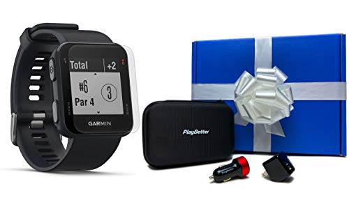 Garmin Approach S10 (Granite Blue) Beat Yesterday Gift Box Bundle   +HD Screen Protectors, PlayBetter USB Car/Wall Adapters & Protective Hard Case   Golf GPS Watch   40,000 Worldwide Courses