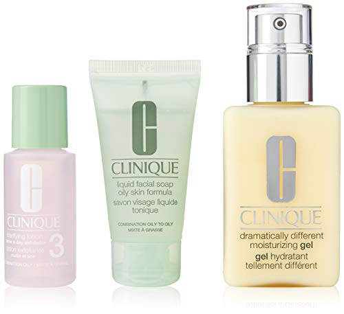 Skin Cleansing Combination Gel - Clinique 3 Piece 3 Step Skin Care Introduction Kit for Unisex, Combination Oily Skin Type