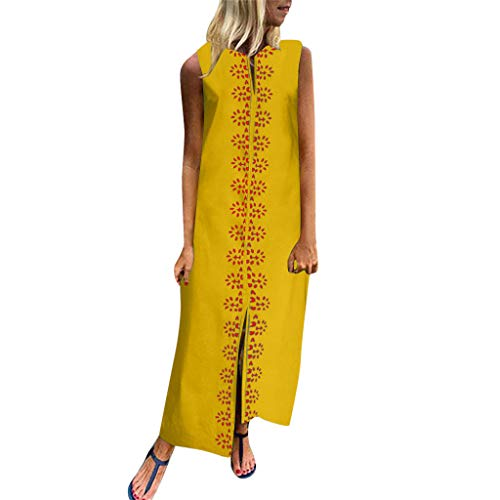 - Women's Elegant Embroidery Printed Long Dress,Ladies Summer Sleeveless V-Neck Maxi Dress Hem Baggy Kaftan Long Skirts (Yellow, 5XL)
