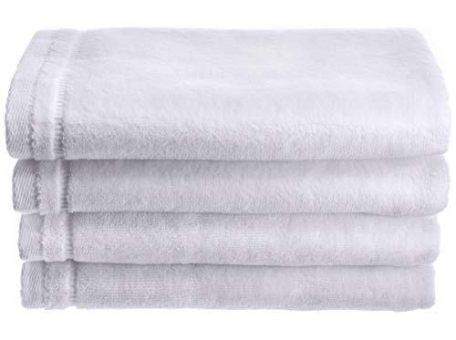 Creative Scents Cotton Velour Fingertip Towel, 4 Piece Set, 11 by 18-Inch, White ()