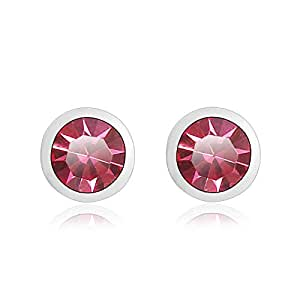 ZMC Women's Rhodium Plated Alloy Swarovski Crystals Stud Earrings, Silver/Hot Pink
