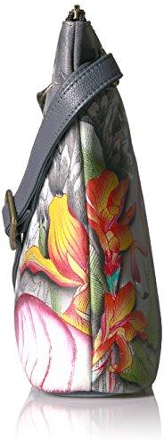 Anuschka handbemalte Ledertasche, Schultertasche für Damen, Geschenk für Frauen, Handgefertigte Tasche mit Fach- Two Sided Zip, travel Umhängetasche bag (Flamboyant Flamingos 493 FFG)