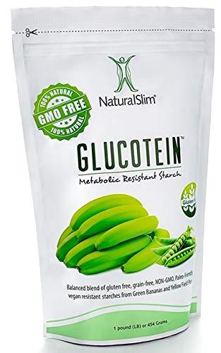"NaturalSlim GLUCOTEIN ""Resistant Starch"" – Banana & Peas Non GMO Natural Fiber Powder – Gluten & Grain Free Vegan Flour Mix"