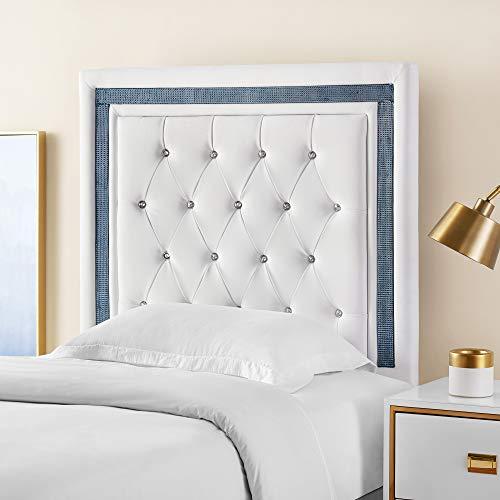 Allure Headboard - Tavira Allure College Dorm Headboard - White with Navy Crystal Border