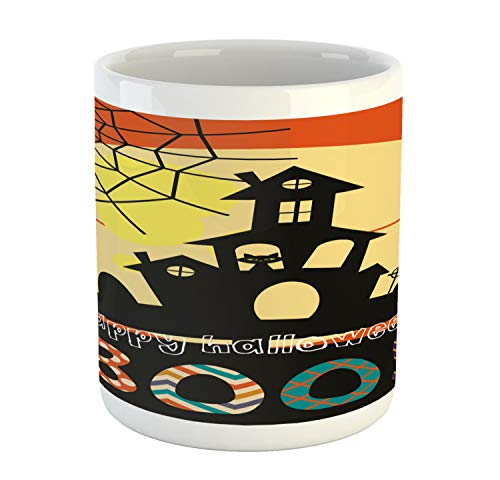 Lunarable Halloween Mug, Haunted House with Cat Tombstones Ghosts and Spider Webs Happy Halloween Boo, Printed Ceramic Coffee Mug Water Tea Drinks Cup, Multicolor]()
