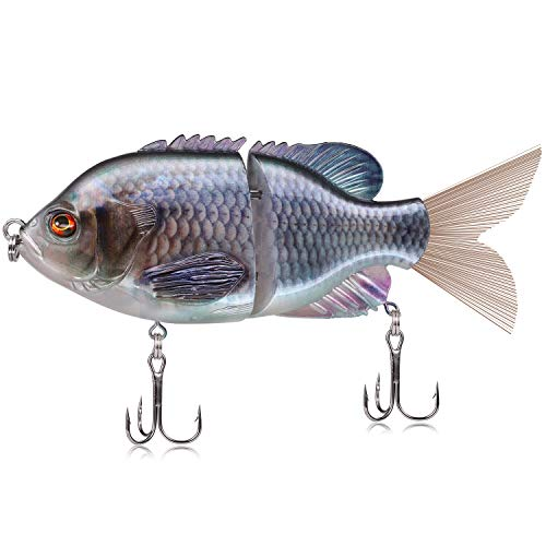 (TRUSCEND Fishing Lures 6'' Metal Jointed Swimbait Transparent Topwater Life-Like Floating Sunfish bass Trout Hard Lures)