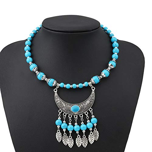 Horn Leaves Tassel Necklaces Pendants for Women Simple Style Tribal Jewelry Gift ()