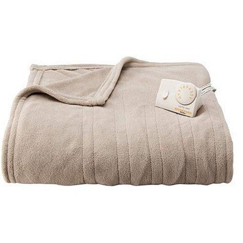 Biddeford MicroPlush Analog Twin Electric Blanket, Taupe (Biddeford Blankets Cord)