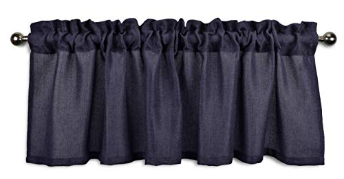 Aiking Home Pure 100% Faux Linen Window Valance - Size 56 inch x 16 inch, Navy