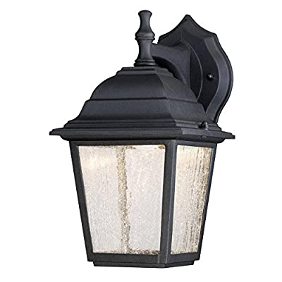 Westinghouse 6400100 One-Light LED Outdoor Wall Fixture, Black Finish with Clear Seeded Glass