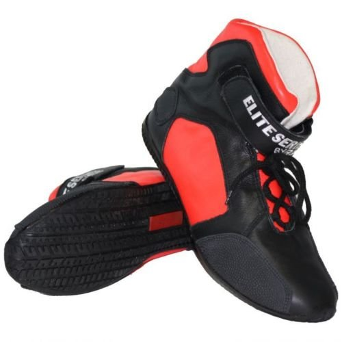 RJS RACING SFI 3.3/5 ELITE LEATHER DRIVING SHOES CORAL RED SIZE MENS 14 WOMENS 16