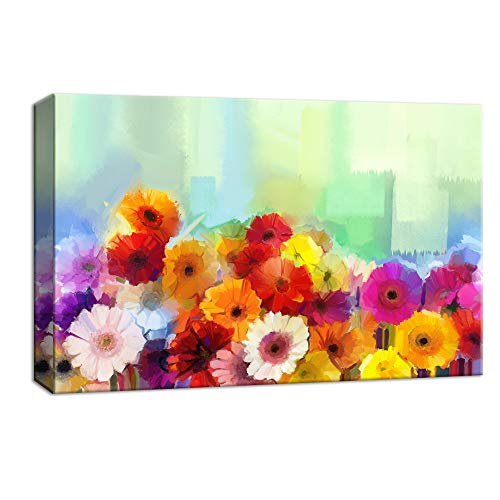 NWT Canvas Wall Art Beautiful Flowers Red Yellow Pink White Painting Artwork for Home Decor Framed - 24x36 inches ()