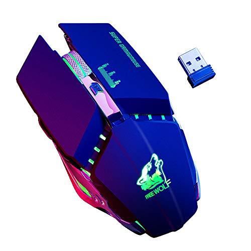 LandFox 2.4GHz Wireless Mute Rechargeable Mouse LED Backlit 1600DPI Mechanical Mouse Black