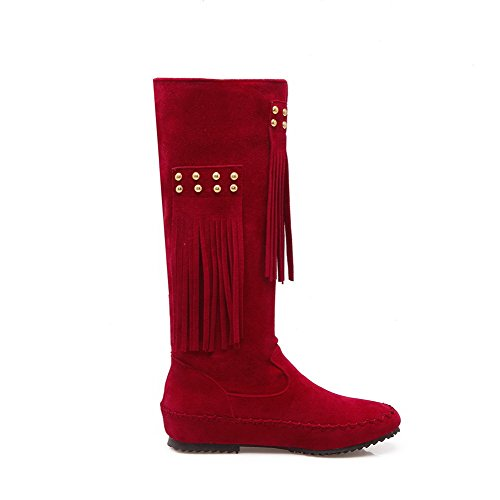 Solid Suede WeenFashion Closed Round Imitated Red Boots top Women's Heels Low High Toe vv68Rnqw