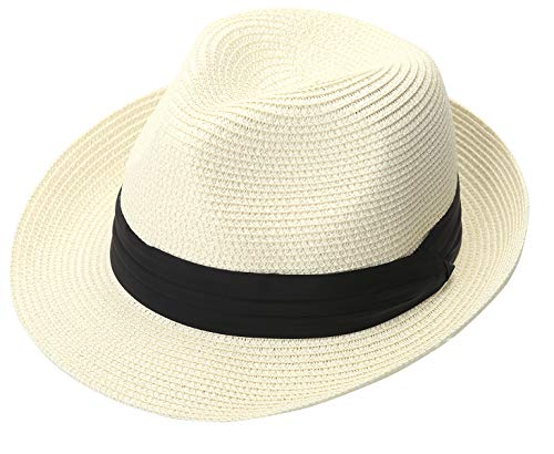 - Lanzom Men Summer Straw Foldable Roll up Hat Fedora Beach Sun Hat UPF50+ (A-Ivory White)
