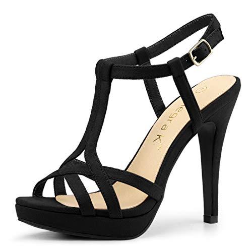 Allegra K Women's T Strap Slingback Black Platform Stiletto Heel Sandals - 9 M US