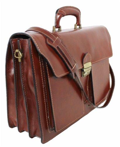 LEATHERWORLD Damen Herren Echt-Leder Tasche Aktentasche Arbeitstasche Notebooktasche Laptoptasche 15 16 Zoll DIN A4 Umhängetasche Dokumenten-tasche Büro aus hochwertigem Leder MARRONE 02032