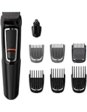 Philips Multigroom Series 3000 8-in-1 Face and Hair Cordless Trimmer with 8 Tools, Rinseable Attachments and up to 60 min Run Time, Black, MG3730/15