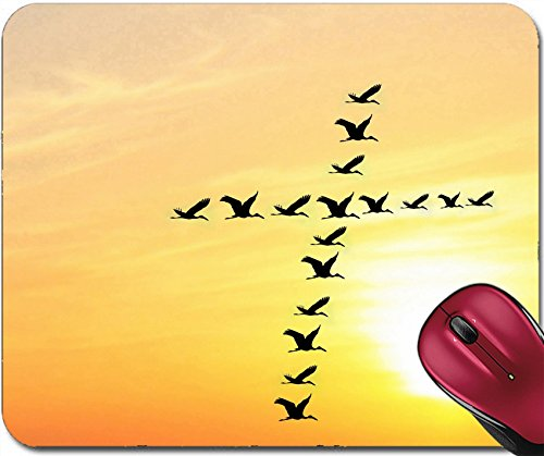 Liili Mousepad Beautiful heavenly sky in the evening with birds forming holy cross shape Photo (Forming Cross Pattern)
