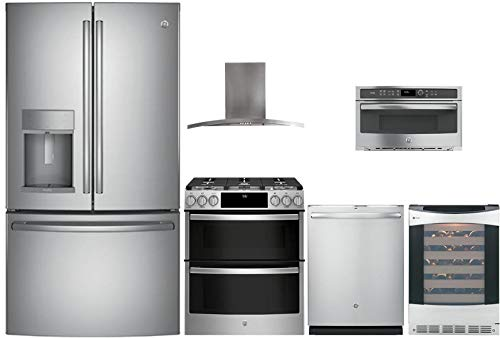 (GE Profile 6 Pcs Kitchen Package with PYD22KSLSS 36