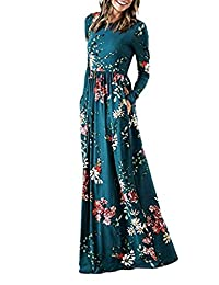QXQTER Womens Long Sleeve Floral Print Empire Waist Maxi Dress with Pockets