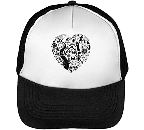 Hombre Beisbol Fashioned I Heart Negro Black Snapback Blanco Gorras OWxx7YFHn