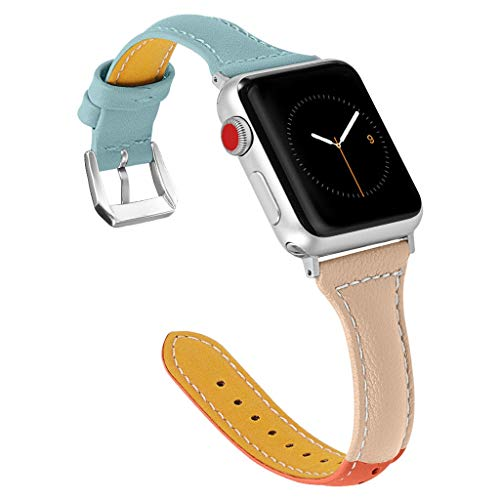 - Clearance Sale!DEESEE(TM)Replacement Leather Watch Band WristStrap Bracelet for Apple Watch Series 4 40mm (Blue)